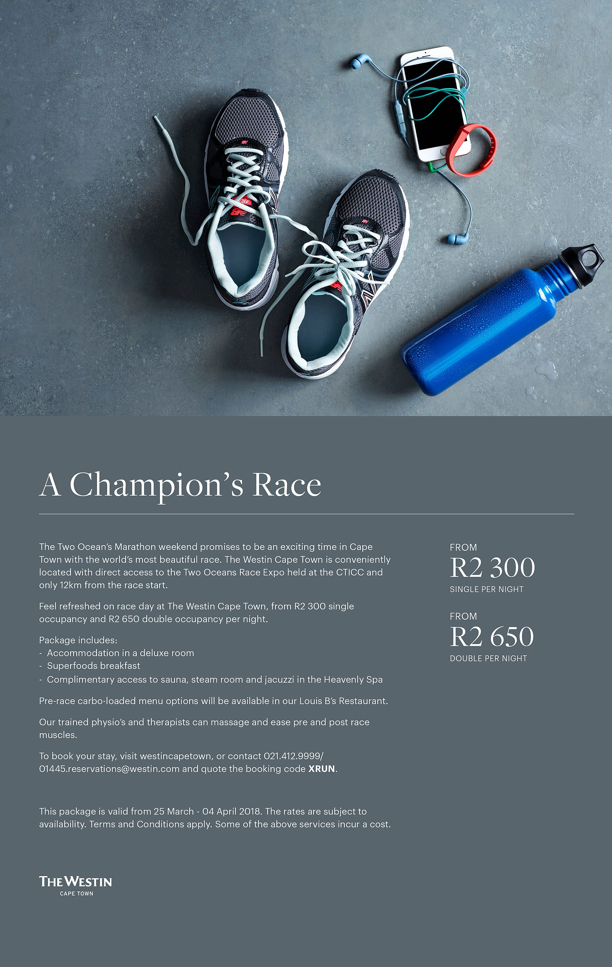 Flyer with image of shoes, iPod and Water bottle with details on Accommodation Offer