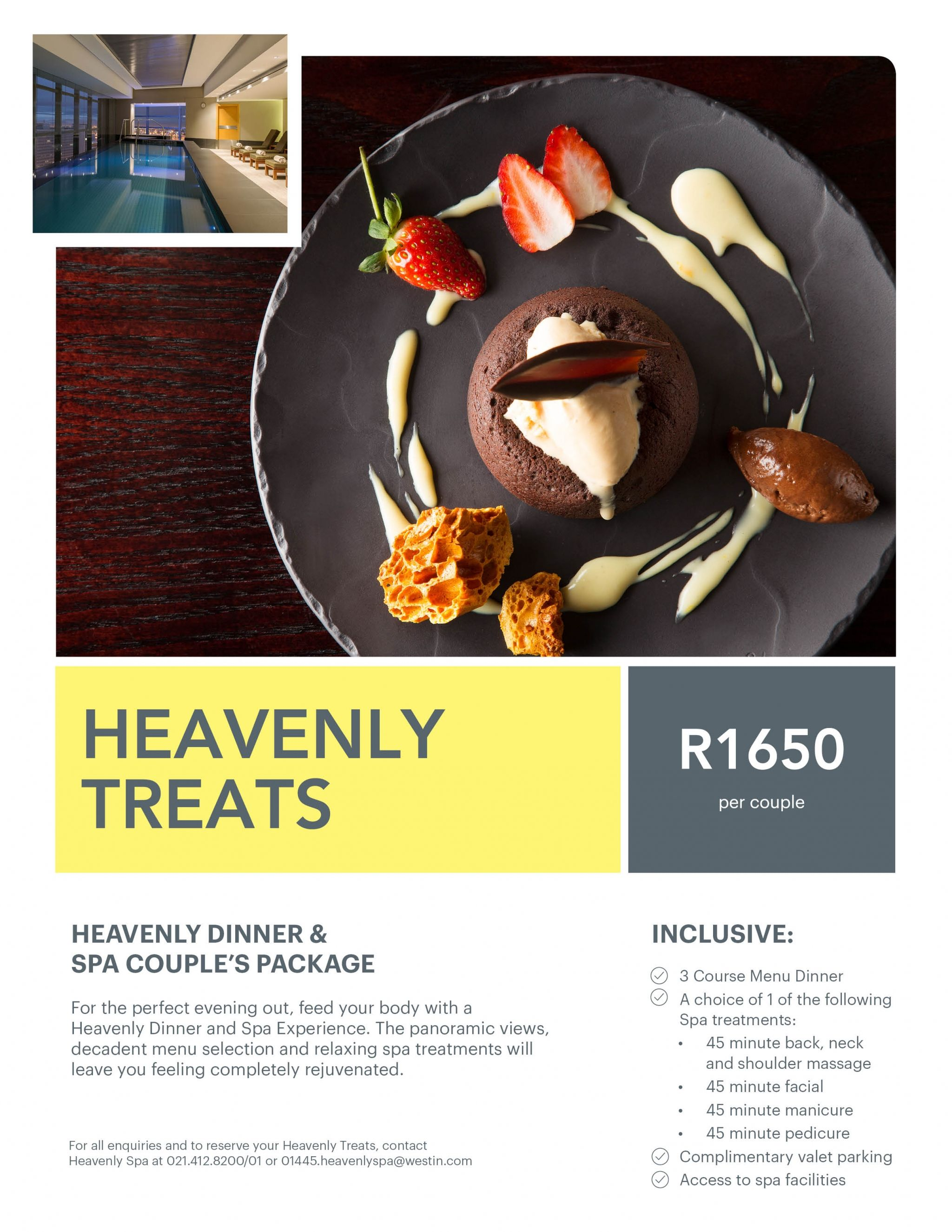 The Westin Cape town Hotel Heavenly Dinner flyer